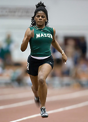 Marie Fields (George Mason University) races in the women's 55m dash.  Day 1 of the Virginia Tech Invitational Track and Field meet was held at the Rector Field House on the campus of Virginia Tech in Blacksburg, VA on January 11, 2008.