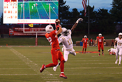 03 September 2016:  Brandon Riley breaks up a pass intended for Anthony Warrum. NCAA FCS Football game between Valparaiso Crusaders and Illinois State Redbirds at Hancock Stadium in Normal IL (Photo by Alan Look)
