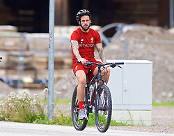 ROTTACH-EGERN, GERMANY - Friday, July 28, 2017: Liverpool's Danny Ings cycles to a training session at FC Rottach-Egern on day three of the preseason training camp in Germany. (Pic by David Rawcliffe/Propaganda)