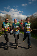 "Local council representatives carry the baton while running on the 20th Korrika. Erratzu (Basque Country) April 3, 2017. The ""Korrika"" is a relay course, with a wooden baton that passes from hand to hand without interruption, organised every two years in a bid to promote the basque language. The Korrika runs over 11 days and 10 nights, crossing many Basque villages and cities, totalling some 2300 kilometres. Some people consider it an honour to carry the baton with the symbol of the Basques, ""buying"" kilometres to support Basque language teaching. (Gari Garaialde / Bostok Photo)"
