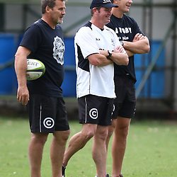 DURBAN, SOUTH AFRICA, 17 November 2015 - Robert du Preez( Assistant Coach) with Ryan Strudwick (Assistant Coach) of the Cell C Sharks and Sean Everitt (Assistant Coach) of the Cell C Sharks during The Pre-season training squad and coaching team announcement at Growthpoint Kings Park in Durban, South Africa. (Photo by Steve Haag)<br /> images for social media must have consent from Steve Haag