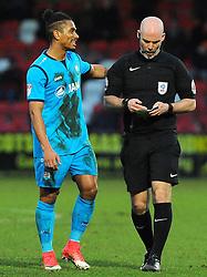 Referee Kevin Johnson speaks with Richard Brindley of Barnet- Mandatory by-line: Nizaam Jones/JMP- 27/01/2018 - FOOTBALL - LCI Rail Stadium- Cheltenham,England - Cheltenham Town v Barnet -Sky Bet League Two