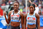 Danielle Williams (JAM) left and Kendra Harrison aka Keni Harrison (USA) after Williams won the women's 100m hurdles Final equalising the Meeting Record time of 12.46 during the Birmingham Grand Prix, Sunday, Aug 18, 2019, in Birmingham, United Kingdom. (Steve Flynn/Image of Sport)
