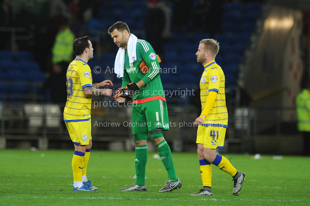 Cardiff city's Scottish goalkeeper David Marshall chats with Ross Wallace of Sheffield Wed (l) at the end of the game. Skybet football league championship match, Cardiff city v Sheffield Wednesday at the Cardiff city stadium in Cardiff, South Wales on Saturday 12th December 2015.<br /> pic by Andrew Orchard, Andrew Orchard sports photography.