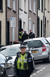 © Licensed to London News Pictures.  20/09/2017; Newport, Gwent, South Wales, UK. Police are seen entering a house in West Street in the centre of Newport, about a mile from the other property being searched in Jeffrey Street, after three people were arrested in Newport in the last 24 hours over last week's Tube attack in Parsons Green. A 25-year-old was arrested in Newport, south Wales, on Tuesday evening, and two more arrests were made this morning, 20 September. Picture credit : Simon Chapman/LNP