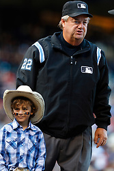 July 23, 2011; San Francisco, CA, USA;  MLB umpire Joe West (22) stands behind home plate before the game between the San Francisco Giants and the Milwaukee Brewers at AT&T Park. San Francisco defeated Milwaukee 4-2.