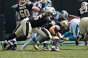 Mario Addison(97) sacks Drew Dress(9) in the New Orleans Saints 34 to 13 victory over the Carolina Panthers.