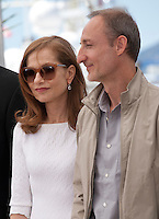 Actress Isabelle Huppert and director Guillaume Nicloux at the Valley Of Love  film photo call at the 68th Cannes Film Festival Friday 22nd May 2015, Cannes, France.