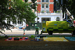© Licensed to London News Pictures. 06/06/2018. London, UK. Emergency medical equipment is laid out on the floor outside the Mandarin Hotel in Kightsbridge where a fire has broken out. Photo credit: Rob Pinney/LNP