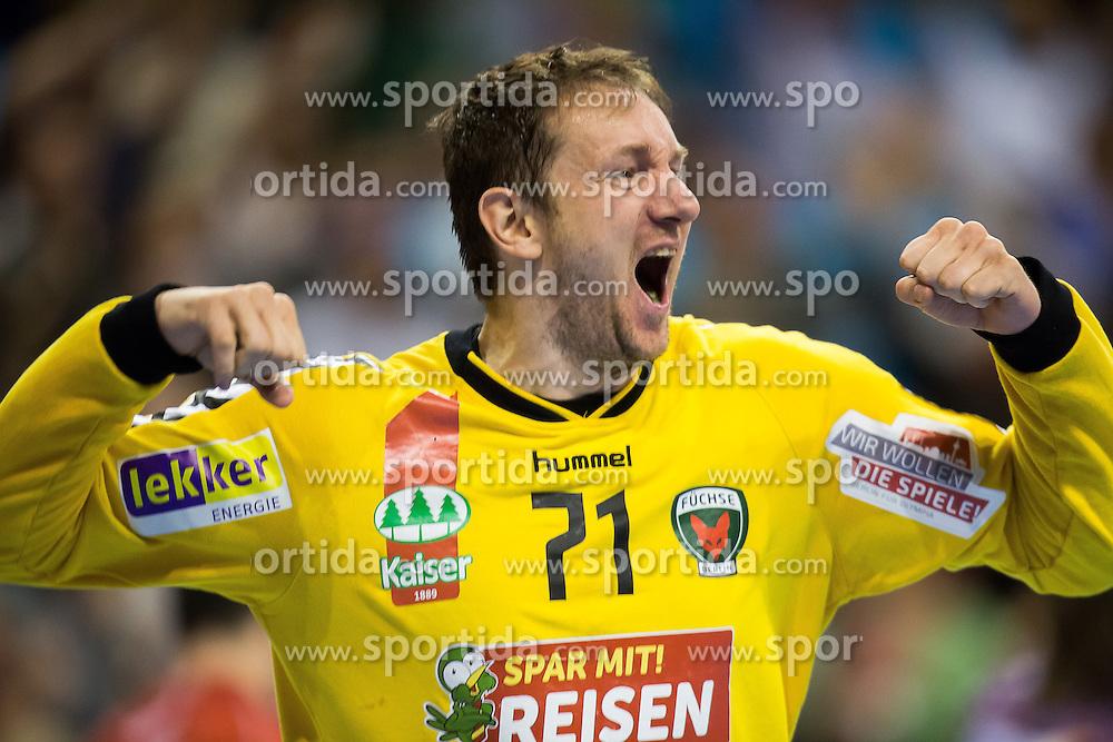 Berlin, Deutschland, 17.05.2015:<br />Handball EHF Pokal Finale 2014 / 2015 - Fuechse Berlin - HSV Hamburg - EHF CUP Finals 2014/15.<br /><br />Torh&Atilde;&frac14;ter / Torhueter Petr Stochl (F&Atilde;&frac14;chse #71) *** Local Caption *** &Acirc;&copy; pixathlon