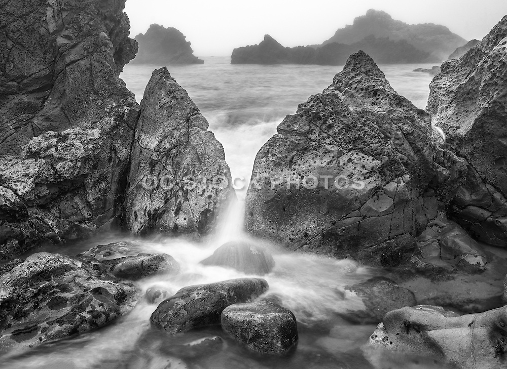 Cameo Shores Seascape Black and White Stock Photo