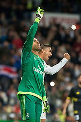 20.03.2016, Estadio Santiago Bernabeu, Madrid, ESP, Primera Division, Real Madrid vs Sevilla FC, 30. Runde, im Bild Real Madrid's Keylor Navas after stops the penalty and Sevilla FC's // during the Spanish Primera Division 30th round match between Real Madrid and Sevilla FC at the Estadio Santiago Bernabeu in Madrid, Spain on 2016/03/20. EXPA Pictures © 2016, PhotoCredit: EXPA/ Alterphotos/ Borja B.Hojas<br /> <br /> *****ATTENTION - OUT of ESP, SUI*****