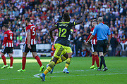 Moussa Djénépo of Southampton scores and celebrates the first goal of the game during the Premier League match between Sheffield United and Southampton at Bramall Lane, Sheffield, England on 14 September 2019.