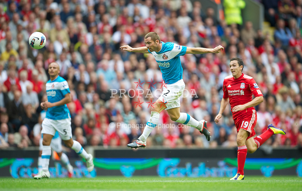 LIVERPOOL, ENGLAND - Saturday, August 13, 2011: Sunderland's Phil Bardsley in action against Liverpool during the Premiership match at Anfield. (Pic by David Rawcliffe/Propaganda)