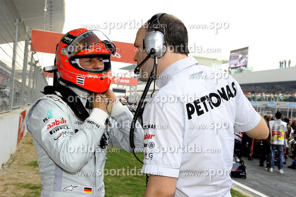 30.10.2011, Jaypee-Circuit, Noida, IND, F1, Grosser Preis von Indien, Noida, im Bild Michael Schumacher (GER), Mercedes GP // during the Formula One Championships 2011 Large price of India held at the Jaypee-Circui 2011-10-30  . EXPA Pictures © 2011, PhotoCredit: EXPA/ nph/ Dieter Mathis +++++ ATTENTION - OUT OF GERMANY/(GER), CROATIA/(CRO) +++++