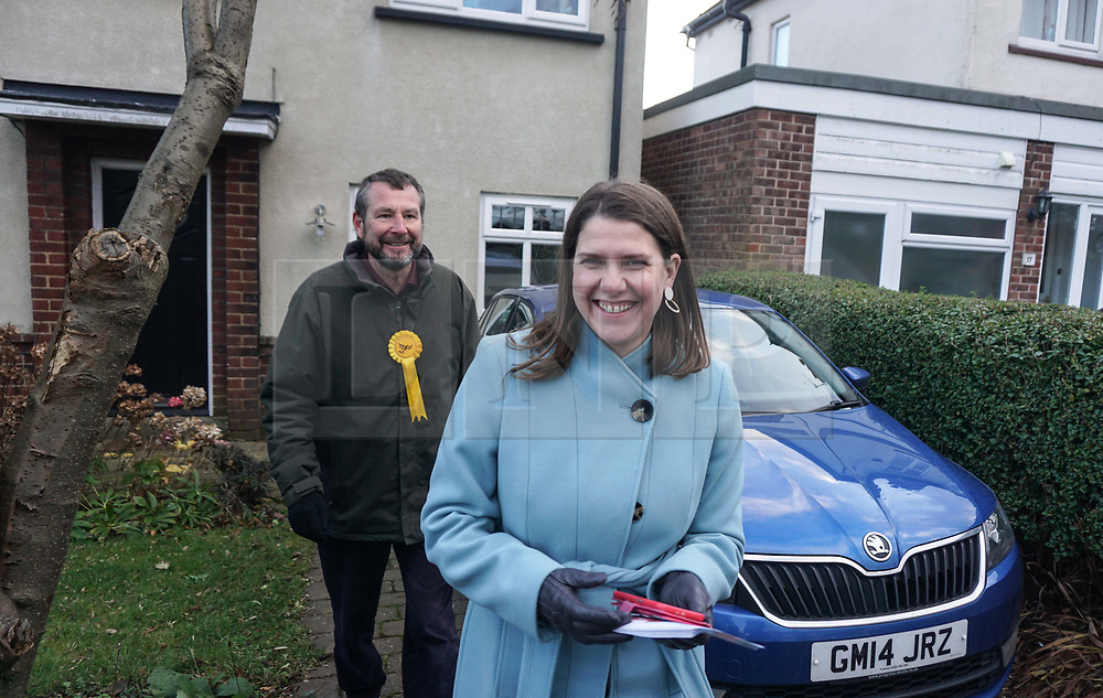© Licensed to London News Pictures. 9/12/2019. Sheffield , UK. Jo Swinson, Leader of the Liberal Democrats reacts as she walks with Liberal Democrat candidates for Sheffield Central Colin Ross  while out canvassing for the general election in Sheffield . Britain will go to the polls on December 12, 2019 to vote in a pre-Christmas general election. Photo credit: Ioannis Alexopoulos /LNP