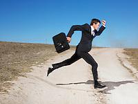 Man running across road
