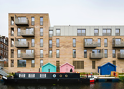 Modern new apartment block at Horne Terrace beside Union Canal in regenerated district of Fountainbridge in Edinburgh, Scotland, United Kingdom.