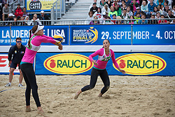 29.07.2015, Strandbad, Klagenfurt, AUT, A1 Beachvolleyball EM 2015, im Bild Ksenia Dabizha 1 RUS / Yulia Abalakina 2 RUS // during of the A1 Beachvolleyball European Championship at the Strandbad Klagenfurt, Austria on 2015/07/29. EXPA Pictures © 2015, EXPA Pictures © 2015, PhotoCredit: EXPA/ Mag. Gert Steinthaler
