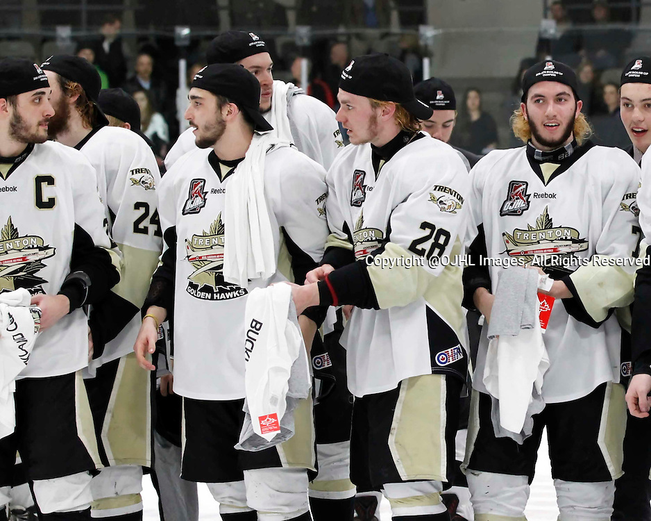 TRENTON, - Apr 21, 2016 -  Ontario Junior Hockey League game action between the Trenton Golden Hawks and the Georgetown Raiders. Game 5 of the Buckland Cup Championship Series, Trenton Golden Hawks celebrations at the Duncan Memorial Gardens, ON. (Photo by Amy Deroche / OJHL Images)