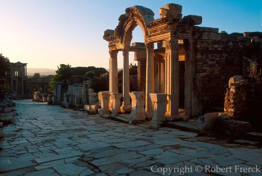 TURKEY, ROMAN CULTURE EPHESUS; view down Curetes Way past Hadrian's Temple to the Library of Celsus in the best preserved Roman city