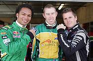 Tri Nations (L-R) A1 drivers, Adrian Zaugg (SA), John Martin (AUS) and Jonny Reid (NZ) A1 GP official practice and qualifying, Taupo, New Zealand, Saturday 19 January 2008. Photo: Renee McKay/PHOTOSPORT/SPORTZPICS