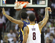 April 17, 2017 - Cleveland, OH, USA - Cleveland Cavaliers forward Channing Frye sinks a three-pointer against Indiana Pacers center Myles Turner during the second quarter in Game 2 of an Eastern Conference playoff game on Monday, April 17, 2017, at Quicken Loans Arena in Cleveland, Ohio. (Credit Image: © Leah Klafczynski/TNS via ZUMA Wire)