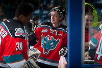 KELOWNA, CANADA - NOVEMBER 29: Jesse Lees #2 of Kelowna Rockets stands at the door as players exit the ice against the Regina Pats on November 29, 2014 at Prospera Place in Kelowna, British Columbia, Canada.  (Photo by Marissa Baecker/Shoot the Breeze)  *** Local Caption *** Jesse Lees;