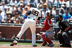 SAN FRANCISCO, CA - JUNE 26: Buster Posey #28 of the San Francisco Giants is hit by a pitch from Aaron Nola (not pictured) of the Philadelphia Phillies during the first inning at AT&T Park on June 26, 2016 in San Francisco, California.  (Photo by Jason O. Watson/Getty Images) *** Local Caption *** Buster Posey