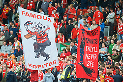 LIVERPOOL, ENGLAND - Saturday, September 26, 2009: Liverpool supporters on the Spion Kop with banner before the Premiership match against Hull City at Anfield. (Photo by: David Rawcliffe/Propaganda)