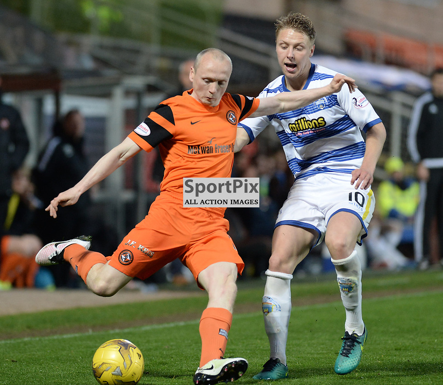 Willo Flood (Dundee United) and Jamie Lindsay (Morton) during the SPFL Premiership quarter final play-off 2nd leg between Dundee United and Greenock Morton, where the home side went into the match with a 2-1 lead from the first leg, which proved too much for the Greenock side to overcome, as a win ensured the Tayside club progressed to the play-off semi final against Falkirk.<br /> <br /> (c) Dave Johnston | sportPix.org.uk