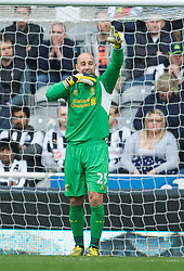 27.04.2013, St. James Park, Newcastle, ENG, Premier League, Newcastle United vs FC Liverpool, 35. Runde, im Bild Liverpool's goalkeeper Jose Reina celebrates team-mate Fabio Borini's fifth goal against Newcastle United during during the English Premier League 35th round match between Newcastle United and Liverpool FC at the St. James Park, Newcastle, Great Britain on 2013/04/27. EXPA Pictures © 2013, PhotoCredit: EXPA/ Propagandaphoto/ David Rawcliffe..***** ATTENTION - OUT OF ENG, GBR, UK *****