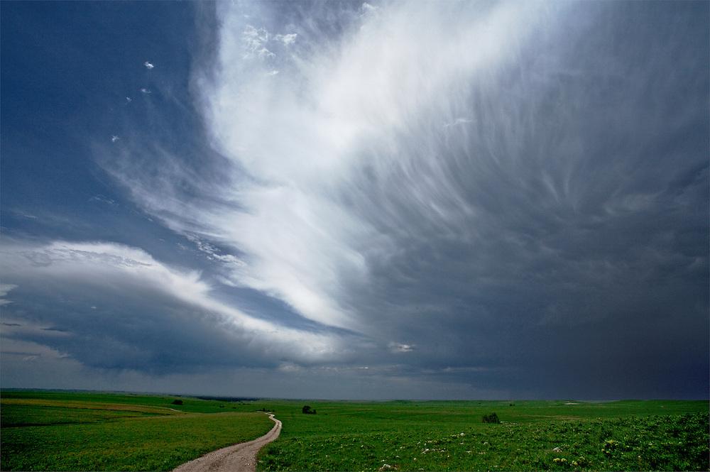Clouds gather over the Tallgrass Prairie National Preserve, near Strong City, Kansas.