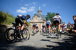 Barbara Guarischi (CANYON//SRAM Racing) climbs out of the shadows to the top of the Muur at the 97 km Stage 3 of the Lotto Belgium Tour 2016 on 9th September 2016 in Geraardsbergen, Belgium. (Photo by Sean Robinson/Velofocus).