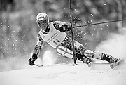 November 26, 2001 - Aspen, CO: Bode Miller of the USA racing to second place with a start number of 54 in an Alpine Ski World Cup Slalom race on Aspen Mountain.