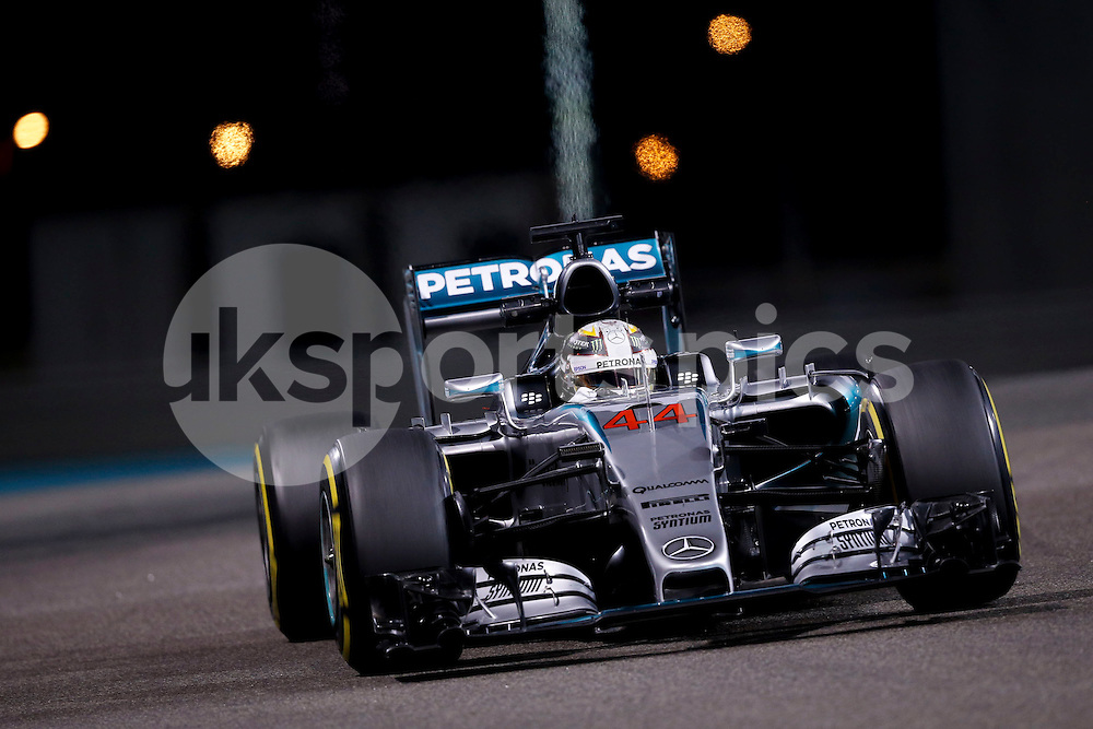 Lewis Hamilton of Great Britain and Mercedes AMG Petronas F1 Team drives during the second free practice session of the 2015 Formula 1 Etihad Airways Abu Dhabi Grand Prix at Yas Marina Circuit, Abu Dhabi, United Arab Emirates on 27 November 2015. Photo by James Gasperotti.