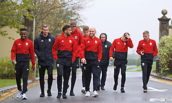 CARDIFF, WALES - Sunday, October 13, 2019: Wales' (L-R) Rabbi Matondo, captain Gareth Bale, Neil Taylor, goalkeeper Wayne Hennessey, Jonathan Williams, Daniel James and Joseff Morrell during a pre-match team walk at the Vale Resort ahead of the UEFA Euro 2020 Qualifying Group E match between Wales and Croatia. (Pic by David Rawcliffe/Propaganda)