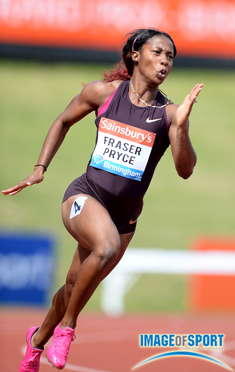 Jun 30, 2013; Birmingham, UNITED KINGDOM; Shelly-Ann Fraser-Pryce (JAM) places second in the womens 200m in 22.72 in the 2013 Sainsbury's Grand Prix at Alexander Stadium. Photo by Jiro Michozuki