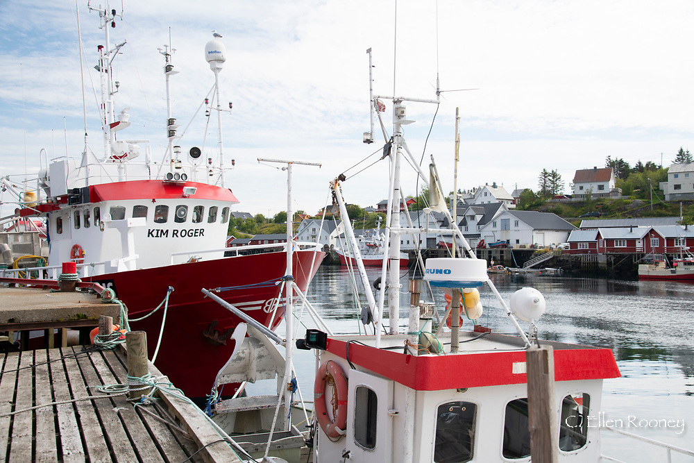 Large fishing boats docked in Sorgaven, Moskensoya, Lofoten Islands, Norway