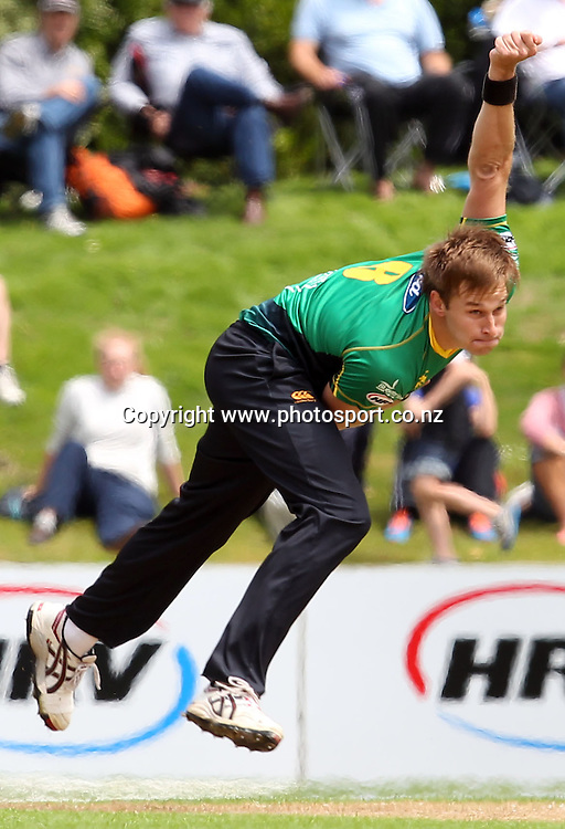 Kyle Jarvis in action for the Stags.<br /> Twenty20 Cricket - HRV Cup, Otago Volts v Central Stags, 6 January 2013, University Oval, Dunedin, New Zealand.<br /> Photo: Rob Jefferies / photosport.co.nz