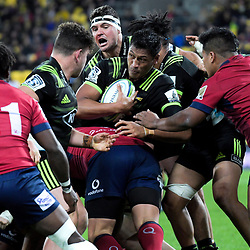 Hurricanes' Sam Lousi in action during the Super Rugby match between the Hurricanes and Reds at Westpac Stadium in Wellington, New Zealand on Friday, 18 May 2018. Photo: Dave Lintott / lintottphoto.co.nz