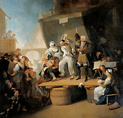 The Quack Doctor' also called 'A Barber Surgeon at Work', before 1785. Oil on wood.  Franz Anton Maulbertsch (1724-1796) Austrian painter. Temporary stall in a town, teeth being pulled and remedies being sold.  Medicine Dentistry