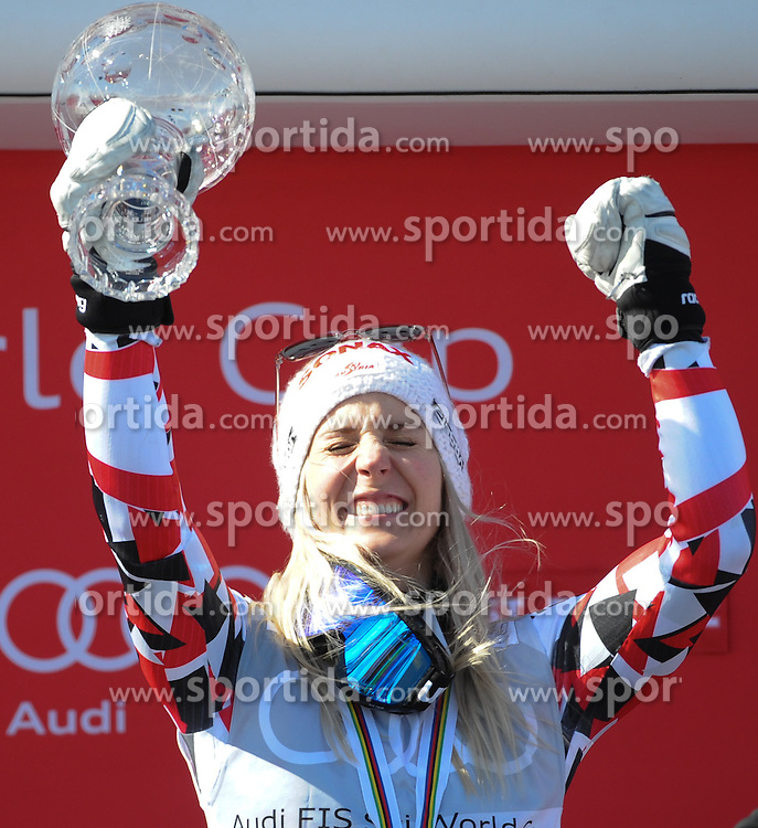 20.03.2016, Engiadina, St. Moritz, SUI, FIS Weltcup Ski Alpin, St. Moritz, Weltcup Siegerehrung, im Bild Eva Maria Brem (AUT) Gewinner RS WC // Eva Maria Brem of Austria Winner of RS WC during Alpine World Cup award winner ceremony of St. Moritz Ski Alpine World Cup finals at the Engiadina in St. Moritz, Switzerland on 2016/03/20. EXPA Pictures © 2016, PhotoCredit: EXPA/ Erich Spiess