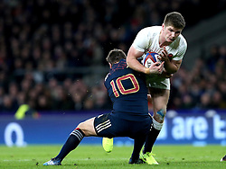 Owen Farrell of England is tackled by Camille Lopez of France - Mandatory by-line: Robbie Stephenson/JMP - 04/02/2017 - RUGBY - Twickenham - London, England - England v France - RBS Six Nations