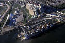 Aerial view of docked vessels in the Port of Houston