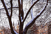 The St. Aloysius Spires after a snowstorm in December. (Photo by Gonzaga University)