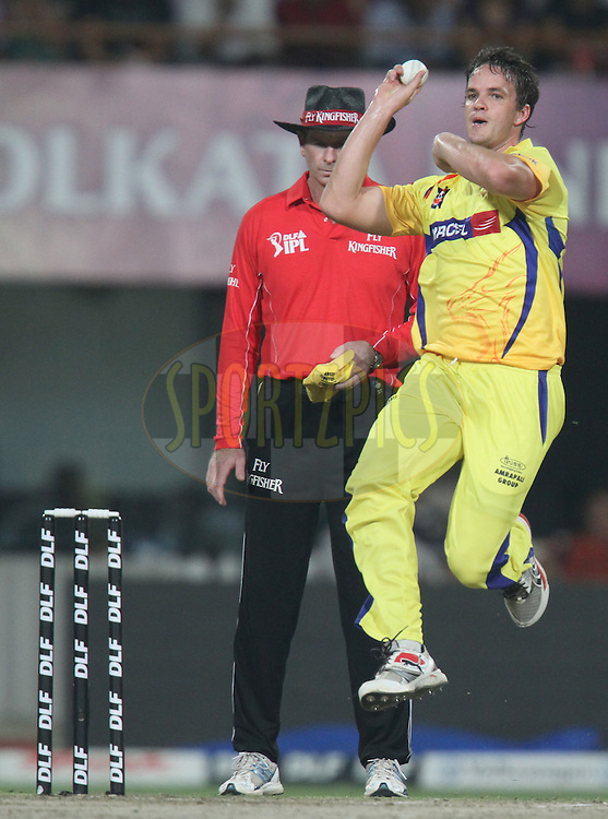 Albie Morkel of Chennai Super Kings bowls during match 48 of the Indian Premier League ( IPL ) between the Kolkata Knight Riders and the Chennai Super Kings held at Eden Gardens Cricket Stadium in Kolkata, India on the 7th May 2011..Photo by Parth Sanyal/BCCI/SPORTZPICS.