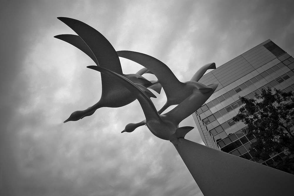 Goose sculpture by artist Robert Dow Reid, outside Conexus Plaza, Regina Saskatchewan