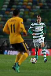 April 12, 2018 - Lisbon, Portugal - Sporting's midfielder Radosav Petrovic from Serbia vies with Atletico Madrids forward Angel Correa  of Argentina (L) during the UEFA Europa League second leg football match Sporting CP vs Atletico Madrid at Alvalade stadium in Lisbon, on April 12, 2018. (Credit Image: © Pedro Fiuza/NurPhoto via ZUMA Press)