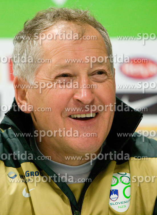 Assistant coach of Slovenia Milan Miklavic during press conference after the training session at  Hyde Park High School Stadium on June 10, 2010 in Johannesburg, South Africa.  (Photo by Vid Ponikvar / Sportida)